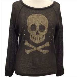 Vintage Havana Knit Sweater Small Skull & Studs